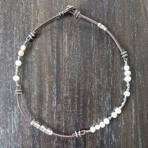 Silpada Freshwater Pearl Leather Necklace